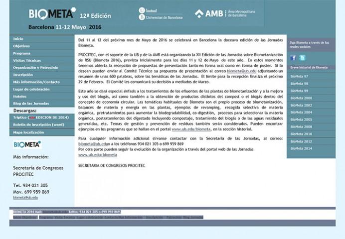 XII Jornadas sobre biometanización RSU Biometa 2016