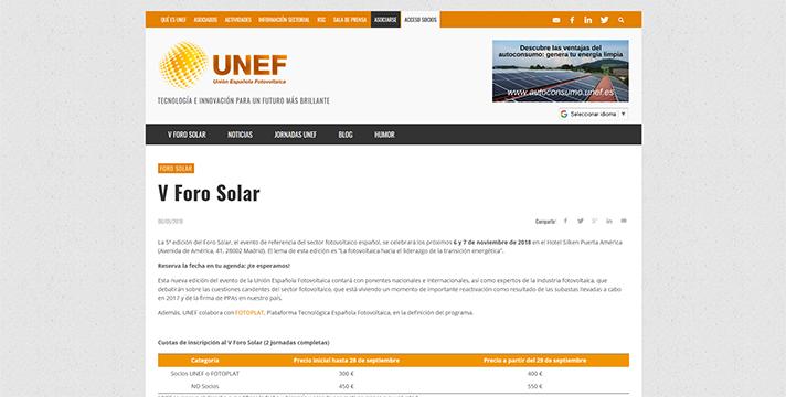 V Foro Solar