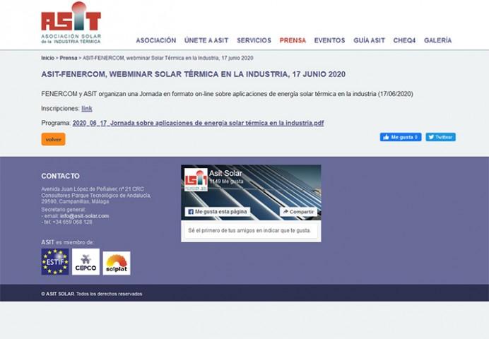 Jornada en formato on-line sobre aplicaciones de energía solar térmica en la industria