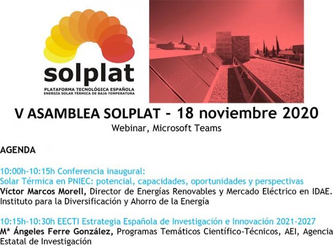 V Asamblea de la Plataforma Tecnológica Española de Energía Solar Térmica de Baja Temperatura, SOLPLAT