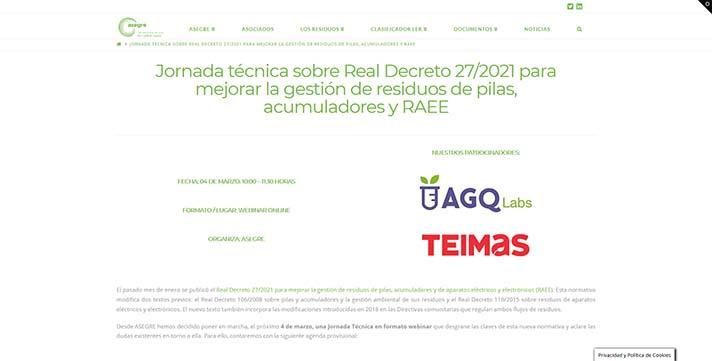 ASEGRE: Jornada sobre el nuevo Real Decreto de pilas, acumuladores y RAEE