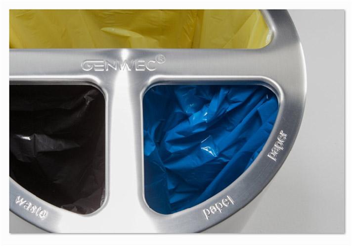 Papelera de reciclaje de 3 separadores de Genwec