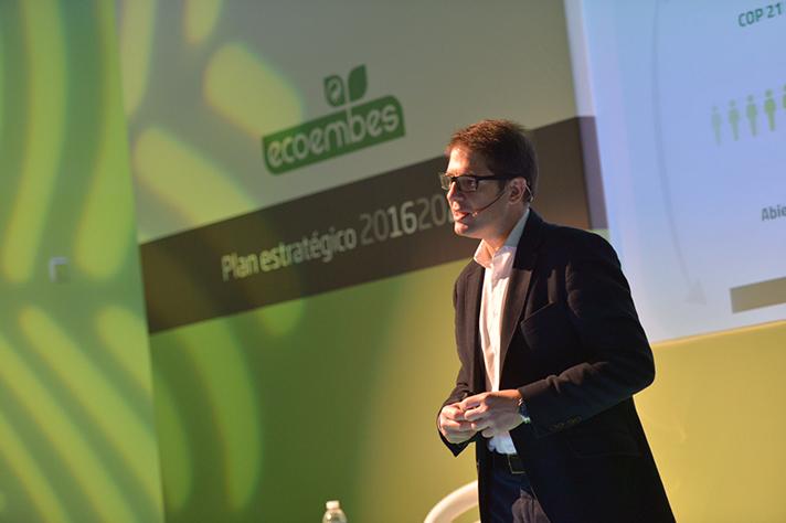 Óscar Martín, consejero delegado de Ecoembes, durante la presentación