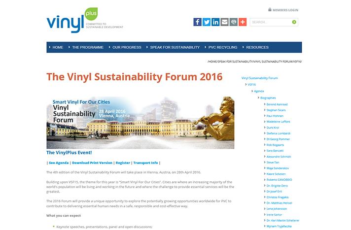 """Los resultados del 2015 se presentaron en la 4ª edición del """"Vinyl Sustainability Forum 2016"""" en Viena"""