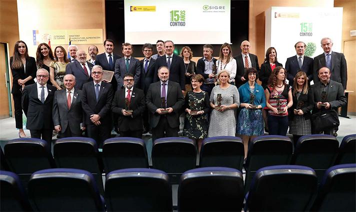 Vista general de los galardonados y premiados en el 15º Aniversario de Sigre