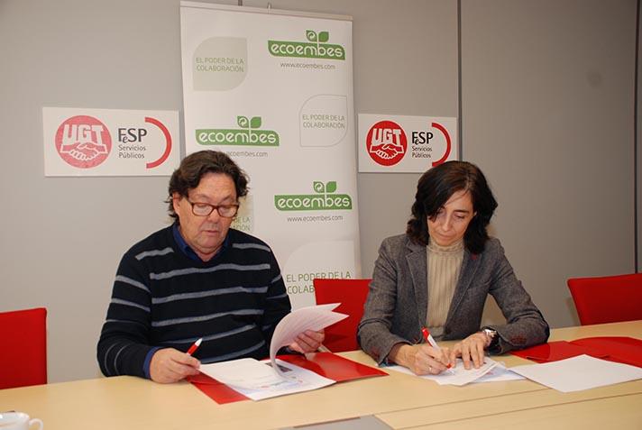Julio Lacuerda, Secretario general de FeSP-UGT y Begoña de Benito, directora de Relaciones Externas de Ecoembes