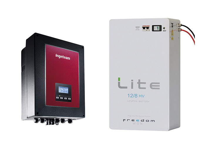 Inversor híbrido de Ingeteam con las baterías de alta tensión de Freedom Won
