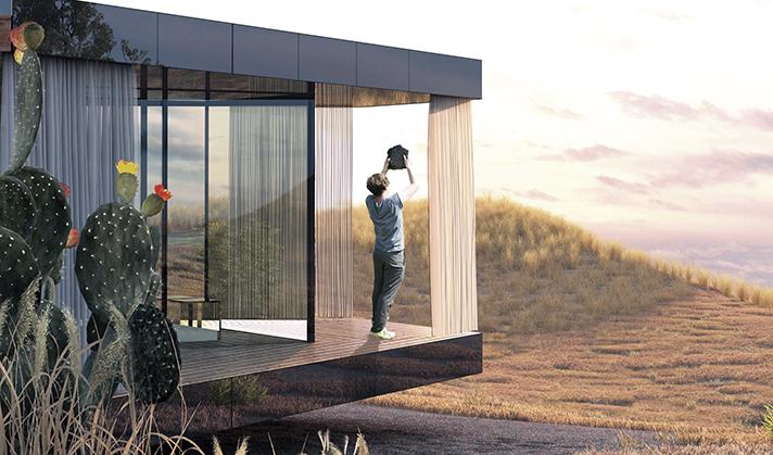 La casa del desierto, un desafío a la naturaleza con vidrios eficientes y energía solar fotovoltaica