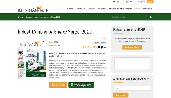 La revista Industria Ambiente se puede consultar en abierto y de manera gratuita