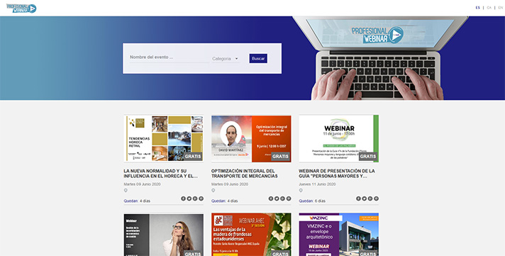 La nueva agenda Profesionalwebinar.com informa sobre el calendario de webinars y eventos online