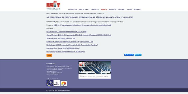 La energía solar térmica, protagonista de un webinar de Fenercom y ASIT