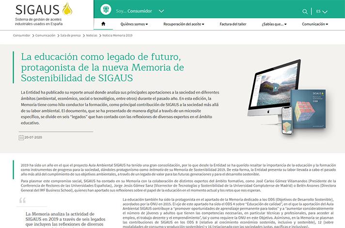 La educación como legado de futuro, protagonista de la nueva Memoria de Sostenibilidad de SIGAUS