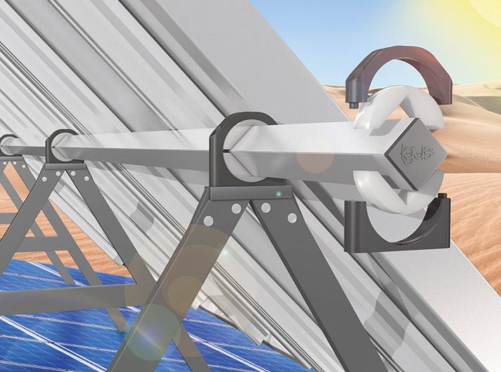 La gama de cojinetes de pedestal de igus para el sector solar, ampliada para perfiles cuadrados