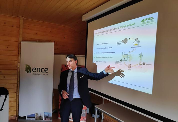 Jordi Aguiló, presidente de APPA Biomasa, durante la conferencia de prensa en Biollano