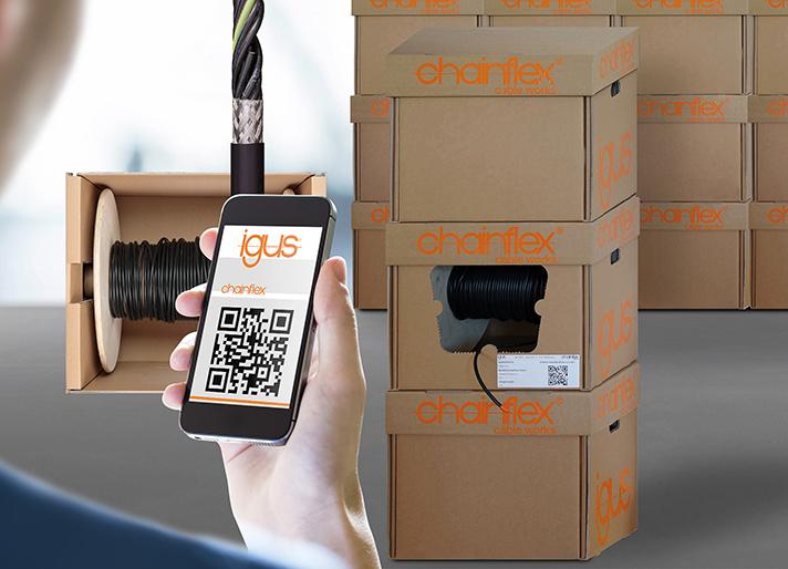 Con chainflex CASE, los clientes pueden establecer rápidamente su zona de almacenamiento, pedir de nuevo los cables utilizando el código QR y ahorrar el 84% de los costes de envío