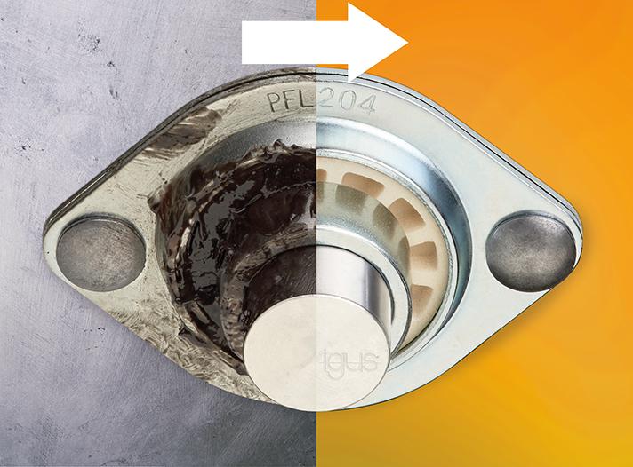 Libres de lubricación y económicas: las bolas esféricas de plástico igubal con alojamiento metálico sustituyen a los cojinetes de metal